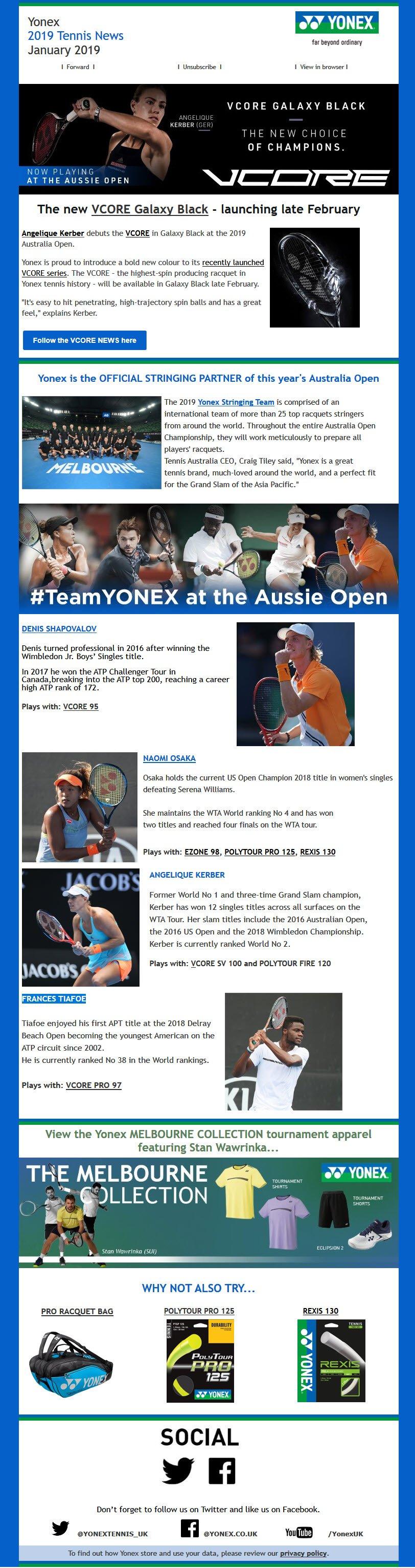 Yonex Aussie Open newsletter